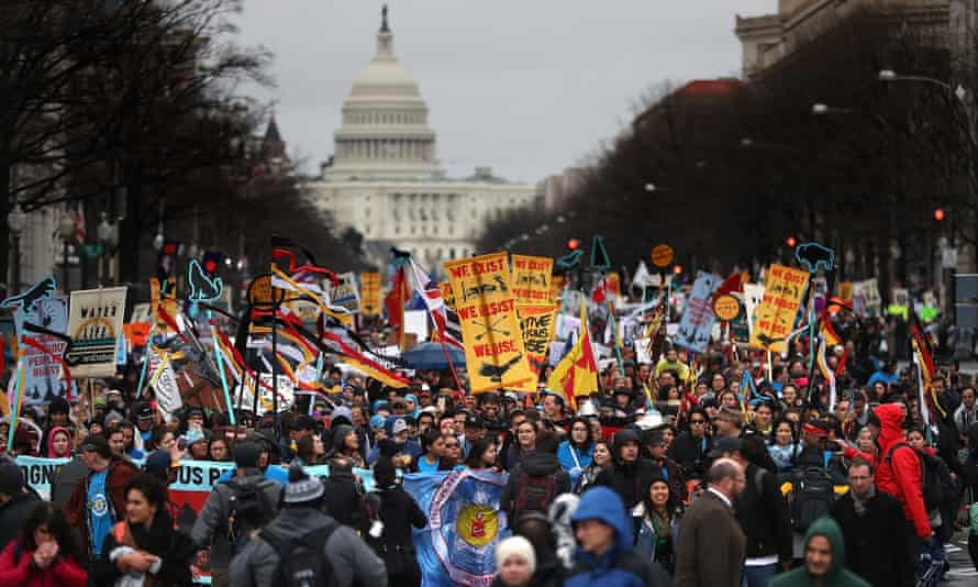 Protesters march during a demonstration against the Dakota Access pipeline on in March 2017 in Washington.