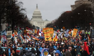 Protesters march during a demonstration against the Dakota access pipeline in 2017