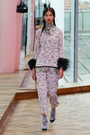 Maribou feathers and pigtails at the Prada cruise show.