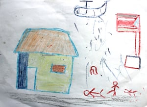 A drawing by a child at the IDP camp in Malakal, showing his experiences.