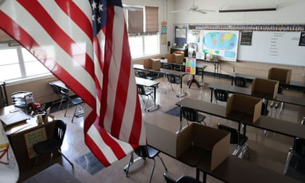 Social distancing dividers for students are seen in a classroom at St Benedict School, in Montebello, near Los Angeles, California, this week.