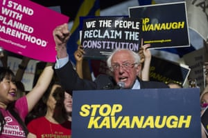 Washington DC, US. Senator Bernie Sanders addresses protesters in front of the supreme court after Trump announced Kavanaugh as his supreme court pick