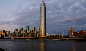 The 50-storey block of 214 luxury apartments by the river Thames at Vauxhall.