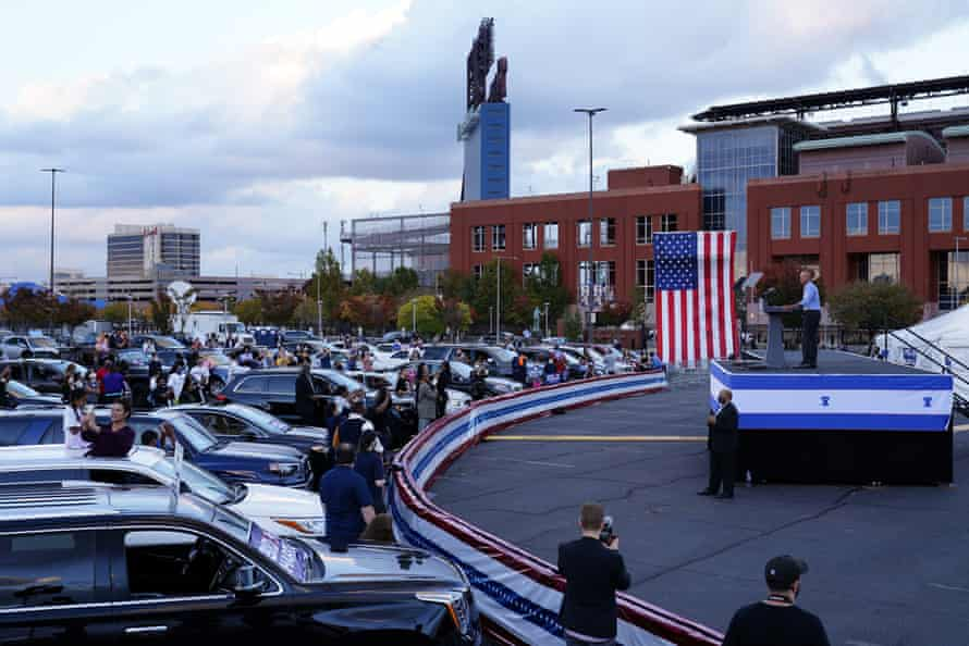 Barack Obama speaks at a drive-in rally on Wednesday in Pennsylvania.