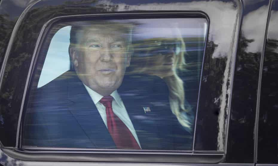 Donald Trump, by now an ex-president, is driven through West Palm Beach, Florida, on their way to his Mar-a-Lago club in Palm Beach.