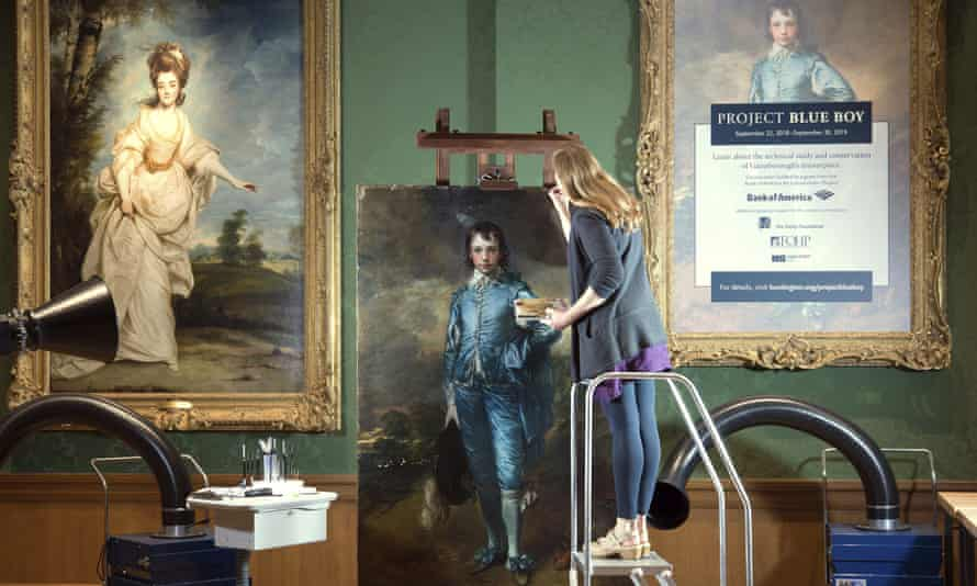 Restoration work is carried out on Thomas Gainsborough's The Blue Boy at the Huntington Gallery in San Marino, California.