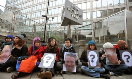 Protesters blockade New Scotland Yard in 2011 over the tactic of infiltrating protest movements