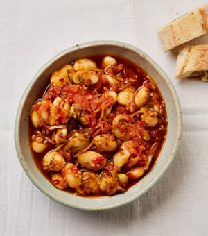 Yotam Ottolenghi's butter beans with preserved lemon, chilli and herb oil.