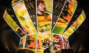 Ed Sheeran performs during a concert at the Ziggo Dome in Amsterdam
