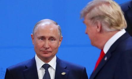Vladimir Putin and Donald Trump at the G20 summit in 2018