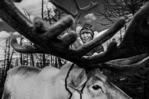Dukha woman with one of her reindeer