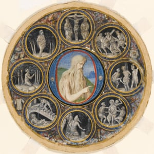 Historiated initial mounted within a roundel with medallion scenes, John the Baptist, Hermit Saints and scenes of Christ's Passion. Bologna, Parma, Italy, 1490-1500.