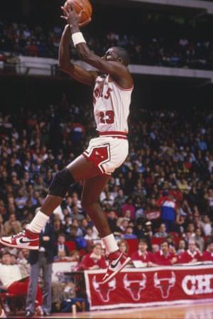 Michael Jordan in his Nike Air Jordans, 1985.