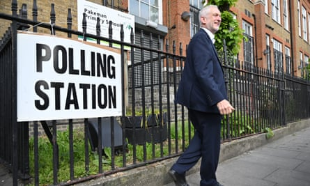 Jeremy Corbyn at a polling station for the EU elections in Holloway, London.