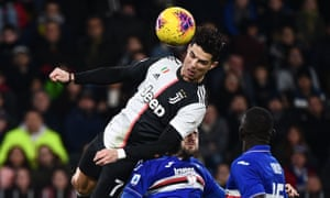 Cristiano Ronaldo soars above the Sampdoria defence to score his fifth goal in his last six Juventus appearances.