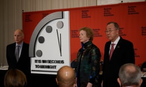 Edmund G Brown, Mary Robinson and Ban Ki-moon attend a press conference in Washington DC with The Doomsday Clock which has moved closer to midnight than it has ever been and is now just 100 seconds away from striking 12.