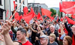 Labour supporters in Merthyr Tydfil.
