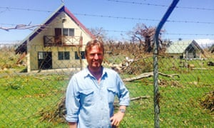 Andrew Brooks at Tanna airport in Vanuatu after sheltering from cyclone Pam with villagers.