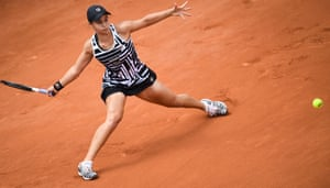 Australia's Ashleigh Barty plays a forehand.