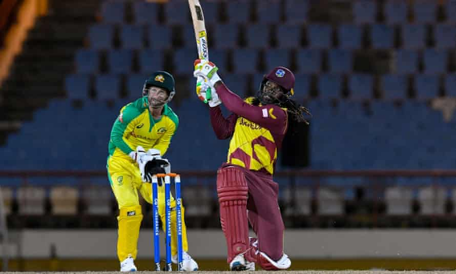 Chris Gayle hits out during his innings of 67 as the West Indies posted a third straight win over Australia in St Lucia. Photograph: Randy Brooks/AFP/Getty Images