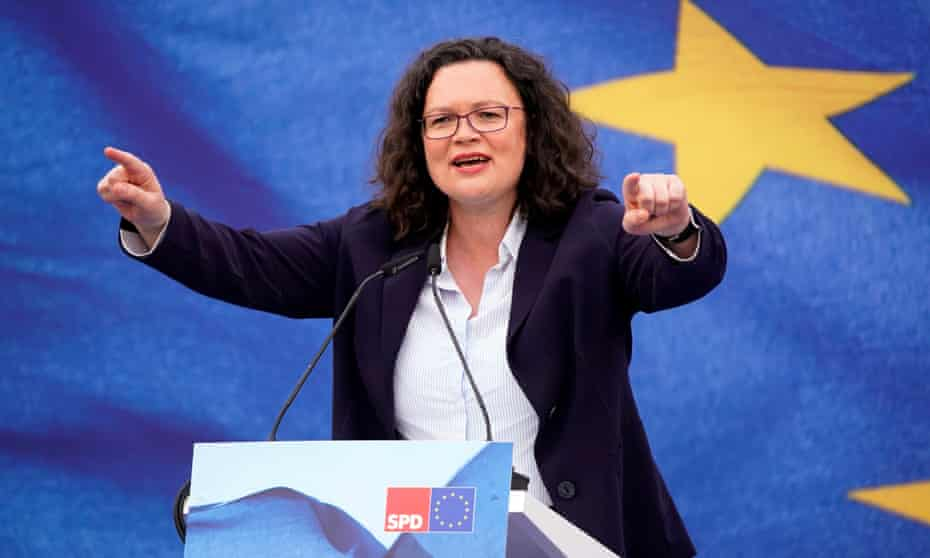 The chair of Germany's SPD, Andrea Nahles, this month.