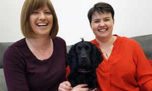 Ruth Davidson (right) with her partner, Jen Wilson, and their spaniel, Wilson.