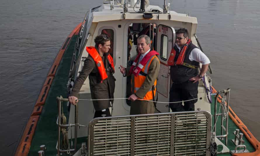08/04/2015 Grimsby. UKIP election campaign. Nigel Farage and Joey Essex at Grimsby docks .Photo Sean Smith