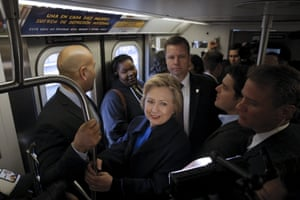 Hillary Clinton rides the subway through the Bronx.