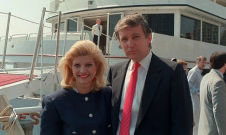 Donald Trump and his then wife, Ivana, pose with their new luxury yacht the Trump Princess in New York, 1988.