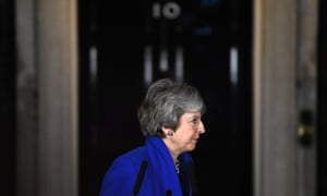 Theresa May after making a statement in Downing Street following the vote of no confidence.