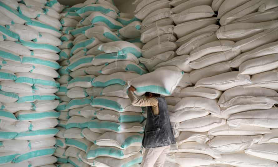 Sacks of wheat flour at a World Food Programme distribution centre in Sanaa, Yemen.