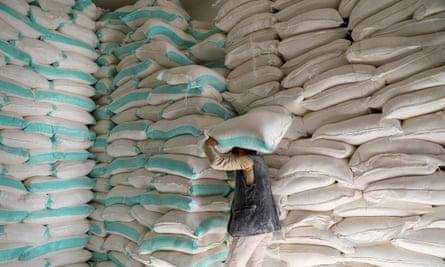 Sacks of wheat flour at a World Food Programme distribution centre in Sanaa, Yemen.