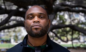Cedric O'Bannon, a California activist and citizen journalist who was stabbed at the protest.
