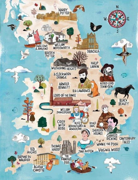 Map shared by VisitBritain of literature landmarks, which omitted Wales and Scotland