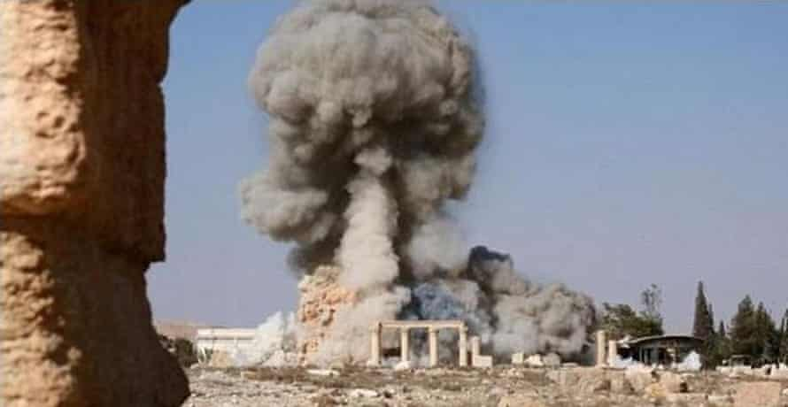 Isis's images of the structure being rigged with explosives and detonated.