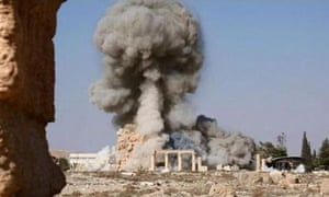 ISIS demolition of Baalshamin Temple, Palmyra, Syria - Aug 2015<br>Mandatory Credit: Photo by REX Shutterstock (4998162c) ISIS demolition of Baalshamin Temple ISIS have continued their destructive rampage in Palmyra by destroying the Temple of Baalshamin. Photos released by the group show the ancient Graeco-Roman structure being rigged with explosives before they're detonated. The explosion brought down the inner sanctum, or cella, and surrounding pillars. The Temple of Baalshamin was built nearly 2,000 years ago and was considered the second most important structure at Palmyra.
