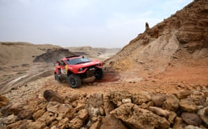 Buraydah, Saudi Arabia. The Spanish driver Nani Roma and his co-driver, Alex Winocq of France, compete during stage 5 of the Dakar Rally 2021