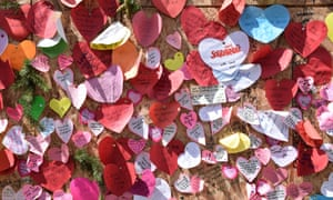 Messages of support left at the Village Shop in Norwich.