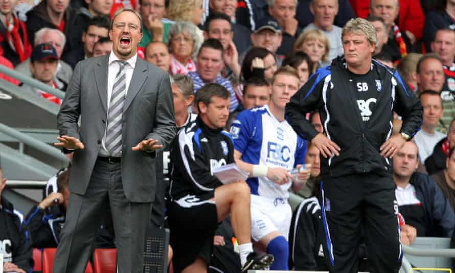 Steve Bruce (right) on the touchline with Rafael Benítez in 2007, when the two were managing Birmingham City and Liverpool respectively.