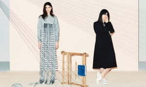 'It's a new way of buying': Faustine Steinmetz (right) with a model wearing a handwoven weft float crop sweater and hole polo dress.