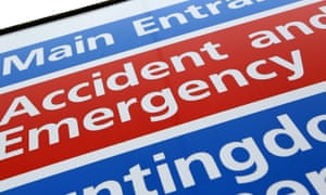 A sign for an accident and emergency department at an NHS hospital.