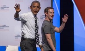 Barack Obama and Mark Zuckerberg at an event for tech entrepreneurs at Stanford University, June 2016.