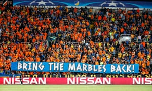 Apoel FC's fans' 'Bring the marbles back' banner during their match against Tottenham Hotspur.