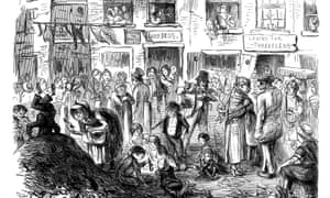 'A Court for King Cholera'- scene typical of the crowded, unsanitary conditions in London slums, Punch cartoon, 1852.