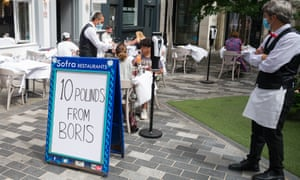 A restaurant has a sign saying '£10 from Boris' to show it is taking part in the government's Eat Out to Help Out scheme