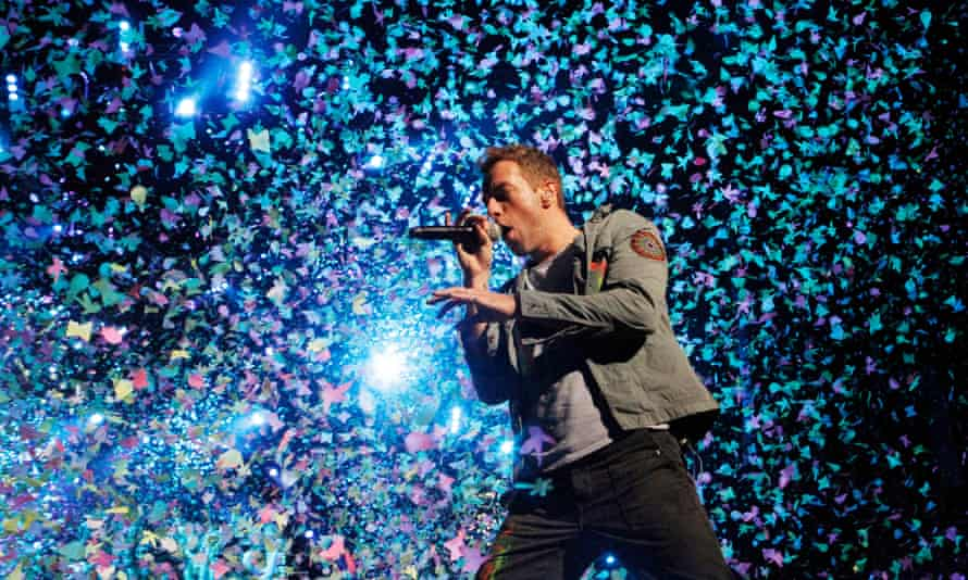 Coldplay performing at the O2 World in Berlin during the Mylo Xyloto tour in 2011