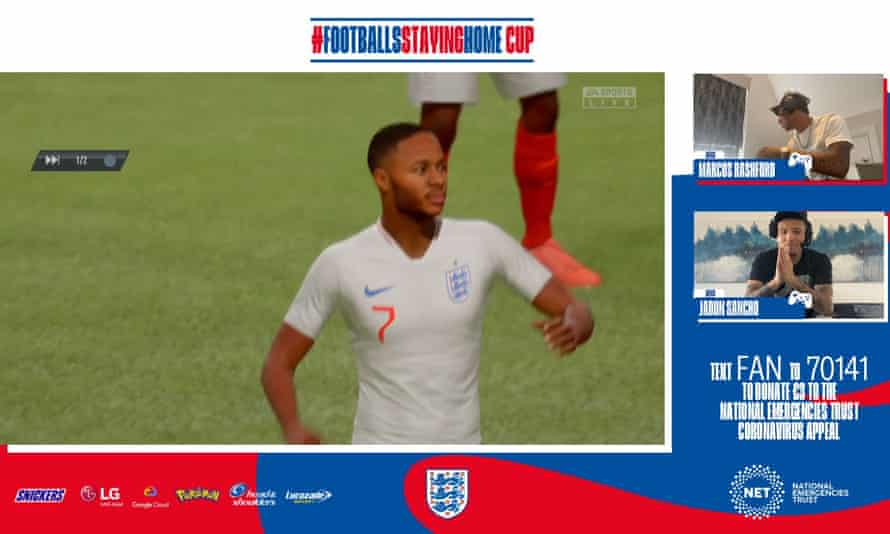 In the FA's #FootballsStayingHome initiative, 16 players from England's men's, women's and Under-21 squads will do battle on YouTube. On Friday, Jadon Sancho defeated Marcus Rashford.