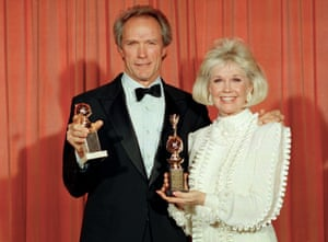 Clint Eastwood and Doris Day at the Golden Globe Awards in 1989