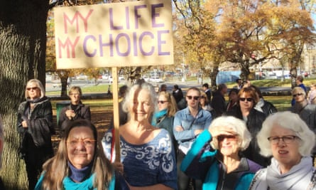 Hobart woman Jennie Brice holds a placard reading, 'My life, my choice'.