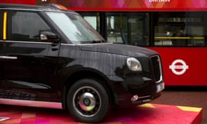 A TX5 hybrid taxi on display in London during the state visit of the Chinese president, Xi Jinping.